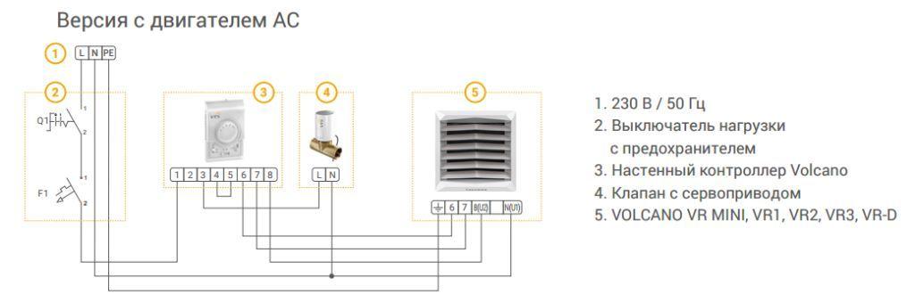 схема подключения Volcano AC (с асинхронным двигателем)